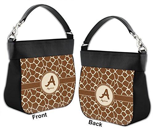 w Giraffe Front Back Leather Purse Genuine Hobo Personalized Trim Print amp; APqrPxt