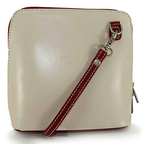 Cream Red Trendy Shoulder Women 18x16x7 Structured Italian nbsp;cm bhbs Genuine Handbag Little Leather LxHxW 5 ORqxqA6w
