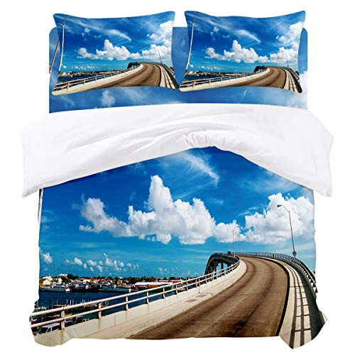 OUR WINGS Full Microfiber Duvet Covers-Bridge Street Lamp Blue Sky White Clouds Beautiful Town Scenery of Omaha(86 by 86 inch),4 Piece Bedding Sets,Zipper Closure, Corner Ties,