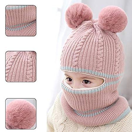 Fablcrew 1Pcs Chapeau Bonnet Enfant Hiver B/éb/é Fille Gar/çon Ensemble Bonnet Echarpe Chaudes Bonnet Tricot/é 2 3 4 5 ans Beige