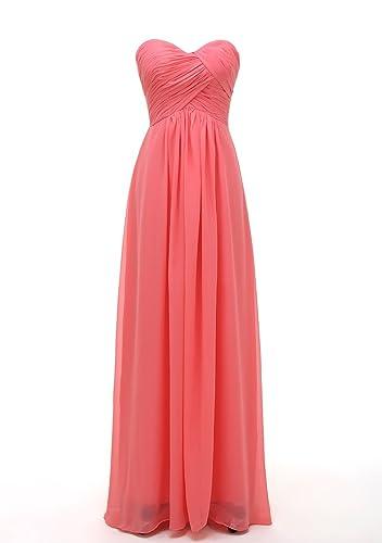 Kiss Dress Women's Sweetheart Chiffon Long Bridesmaid Dresses