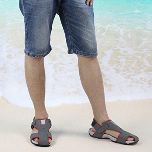 Estivi Pelle Scarpe Sandali Beach Toe Uomini Uomini Chiuso Grigio 5cSvXyq