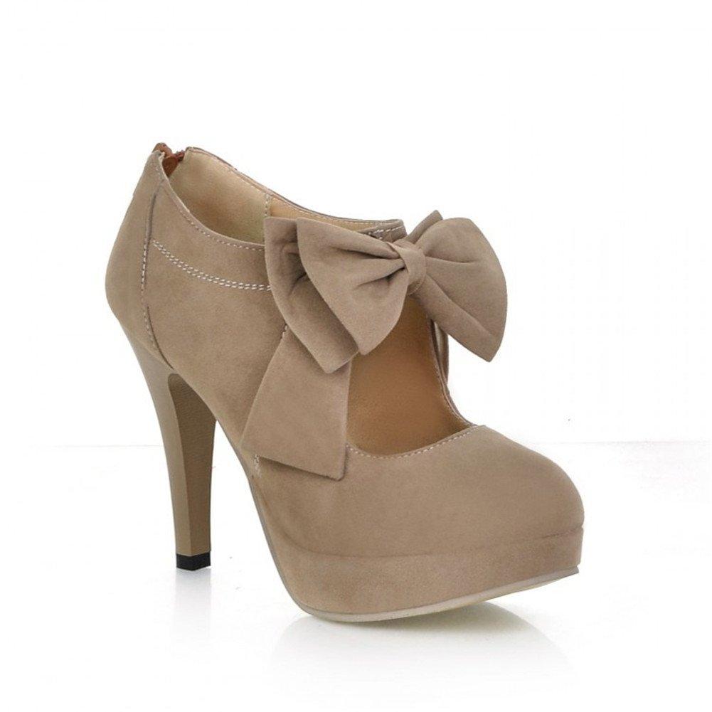 LATH.PIN® Vintage Damen Schuhe Pumps High Heels Beige Brautschuhe mit Schleife Stilettosabsatz Braun)