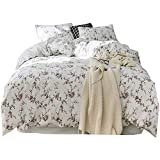 California King Versus King Size Bed Nanle Queen Size Cotton Duvet Covers Floral Bedding Hypoallergenic Cotton American Simple Bedding Set 4 Pieces, 1Duvet Cover &1 Bed Sheet & 2 Pillowcases