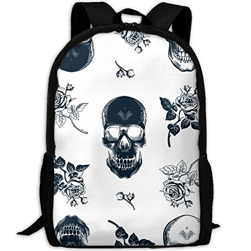 White Skull Rose (Backpack, Travel Hiking Waterproof Big Student College High School Shoulder Black Outdoor Canvas Backpack, Skull Rose Stylish Print Shoulder Bag Backpacks For Men Women Adults)