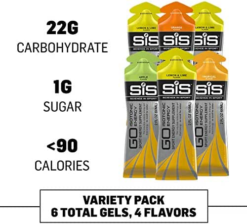 Science in Sport Energy Gel Variety Pack, SIS Isotonic Energy Gel Pack, 22g Fast Acting Carbs, Performance & Endurance Sports Gels, Running & Cycling Gel - 2 oz (6 Pack)