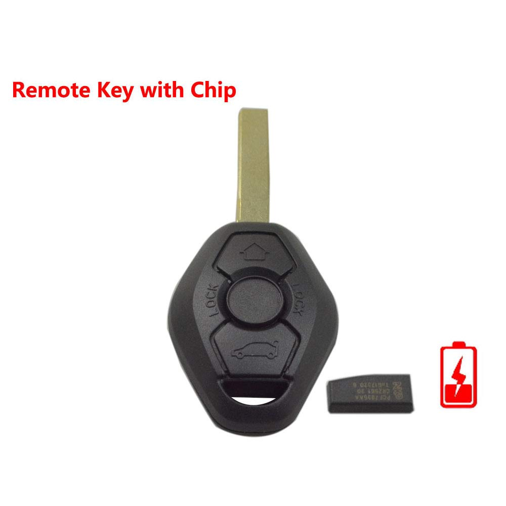 Include Electronic,Battery and Chip FLYPIG New Uncut Chip Chip ID44 315MHz 433MHz Keyless Entry Remote Control Car Key Replacement for BMW Z4 X 3 X5 E46 Series 3 5 7 Z3