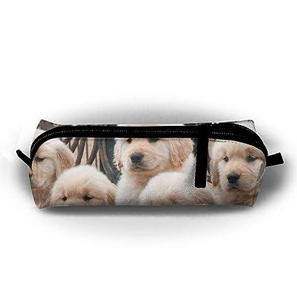 White Golden Retriever Puppies Pen Bag Makeup Pouch Zipper ...