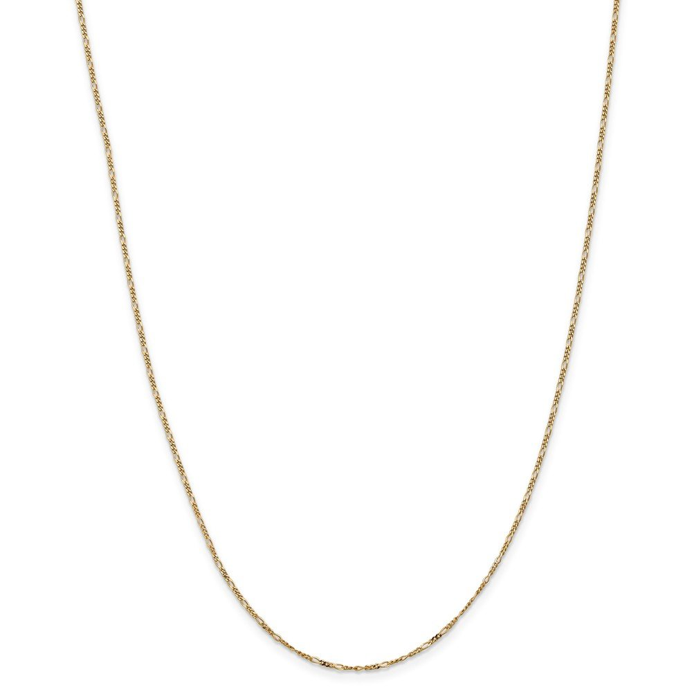 1.1mm 14k Gold Solid Flat Figaro Chain Necklace with Spring Ring