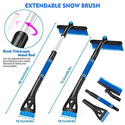 Fancytimes Car Snow Brush Extendable Snow Removal with Ice Scraper & Foam Grip Detachable Snow Ice Removal, No Scratch Winter Cleaning Tool for Car Auto Truck SUV Windshield Windows (Blue & Black): Automotive