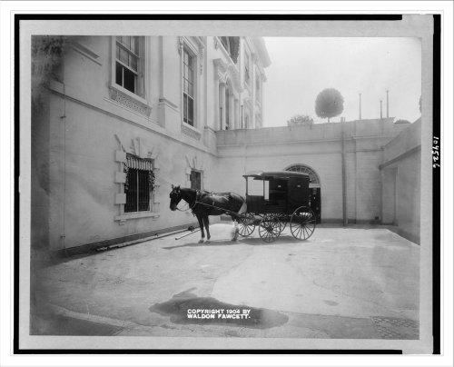 Historic Print (L): [Horse drawn delivery wagon at entrance of White House ki...