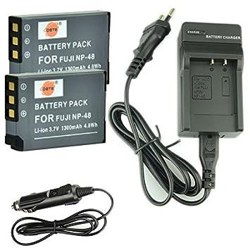 DSTE 2-Pieza Repuesto Batería y DC30E Viaje Cargador kit para Fujifilm Fuji NP-48 XQ1 XQ2