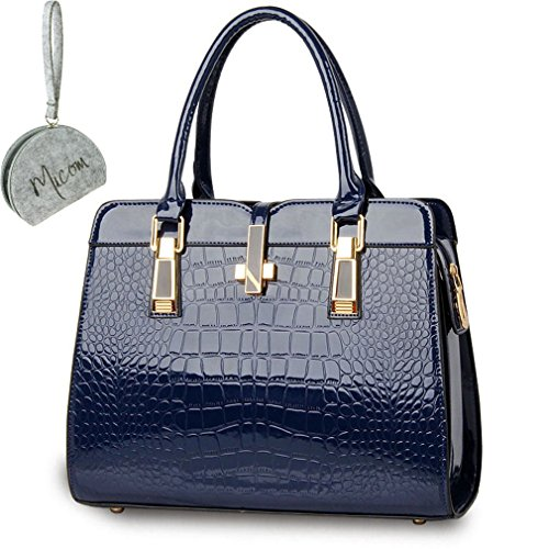 Micom New Fashion Designer Handbags Women Pu Leather Alligator Pattern Tote Bag with Micom Zipper Pouch (Medium-sized, Navy Blue) (Designer Handbags New)
