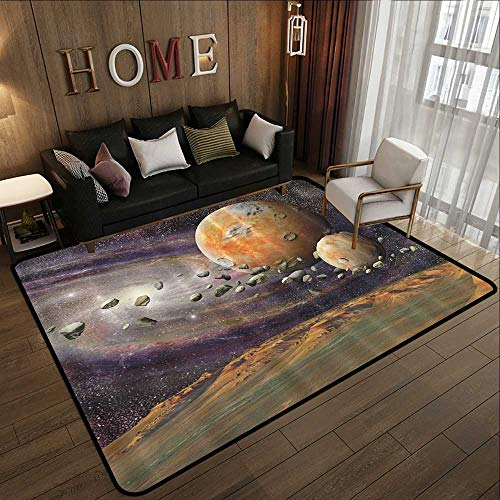 Small Rugs,Galaxy Universe Outer Space Planets Stars Deep Sky Objects Stones Astronomy Gifts Home Fashionable,Green Purple Yellow W 63