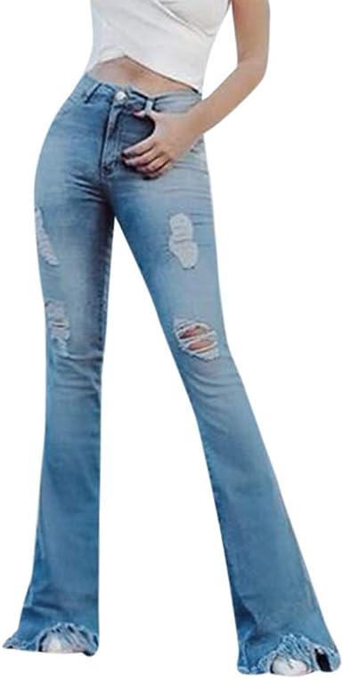 Risthy Mujer Pantalones Acampanados Casual Vaqueros Rotos Ocios Cintura Alta Jeans De Mujer Ancho Pierna Elastica Holgados Bota Boot Cut Amazon Es Ropa Y Accesorios