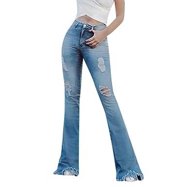 RISTHY Mujer Pantalones Acampanados Casual Vaqueros Rotos ...