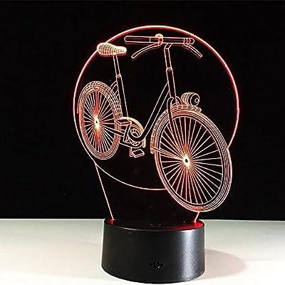 LPY-Bicicleta 3D Noche luz Mesa Escritorio lámpara, 7 Colores ...