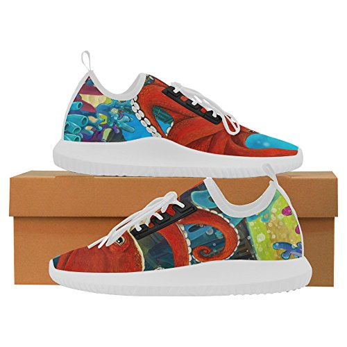 InterestPrint The octopus underwater castle - octopus Dolphin Ultra Light Running Shoes for Women
