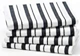 sonoma dish towels - Cotton Craft - 4 Pack Oversized Kitchen Towels, 20x30 - Black, Pure 100% Cotton, Crisp Basket weave striped pattern, Convenient hanging loop - Highly absorbent, Professional Grade, Soft yet Sturdy