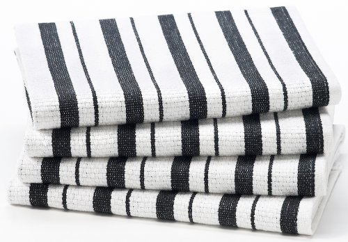 Cotton Craft - 4 Pack Oversized Kitchen Towels, 20x30 - Black, Pure 100% Cotton, Crisp Basket weave striped pattern, Convenient hanging loop - Highly absorbent, Professional Grade, Soft yet Sturdy