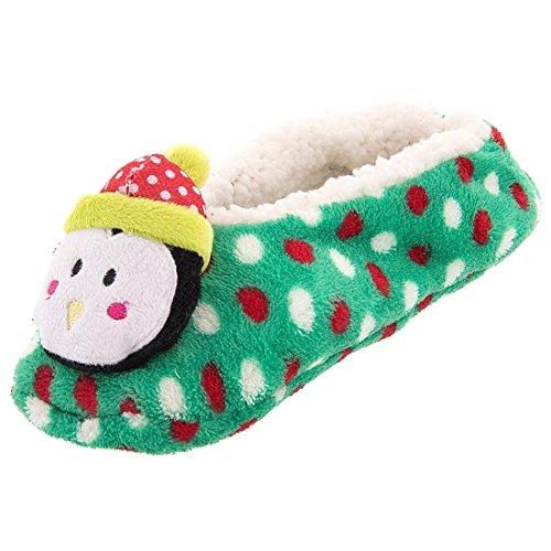 Gertex Grønne Prikker Womens Jule Pingvin Myke Tøfler