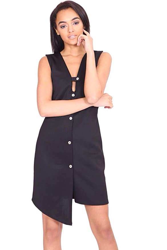 Womens Sleeveless High Low Front Midi Bodycon Party Dress Button UP: Amazon.co.uk: Clothing