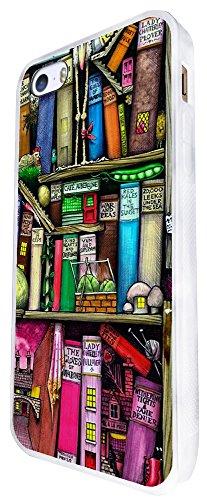 1286 - Cool Fun Trendy Cute Kawaii Book Shelves Books Library Colourful Cartoon Sketch Design iphone SE - 2016 Coque Fashion Trend Case Coque Protection Cover plastique et métal - Blanc