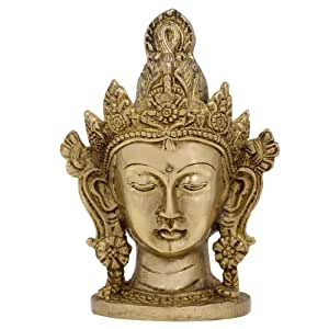 Arte Budista Tara Metal Estatua De Buda Cabeza Décor Casero Latón 15,24 Cm