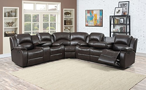 AC Pacific Samara Collection Modern Upholstered 3-Piece Living Room Sectional Set with Reclining Sofa and Loveseat with Storage Console and Cup Holders, Dark Brown (Brown Reclining Sectional)