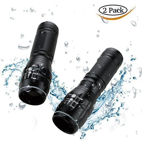 LED Tactical Flashlight, DOSNTO Super Bright Protable Flashlight, Adjustable Handheld Flashlight, Waterproof Flash Light For Camping, Cycling, Outdoor or Gift-Giving, 2 Pack(Battery Not Include) ...