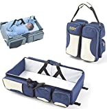 2 in 1 Multi-function Portable Folding Baby Travel Bed Crib Diaper Bag by Warmword (Dark Blue)