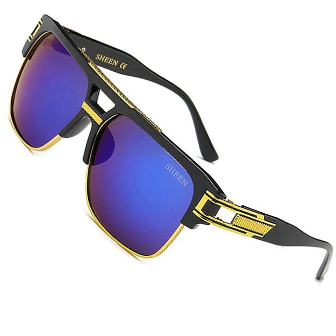SHEEN KELLY Plaza Gafas de Sol de Moda estilo Marca Retro Vintage Baratas  para Mujer y Hombre Marco de metal Azul marrón transparente plata   Amazon.es  Ropa ... f772ab724225