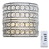 Decorative LED Wall Sconce Lighting: 8 Inch Glam Doll Crystal Glass Wall Mounted Lamp - Battery Operated Wireless Hanging Silver Light Fixture with Remote Control Dimmer, Timer & Flicker Functions