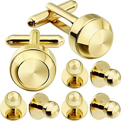 (HAWSON Cufflinks and Studs for Men-Fashion Men Gold Tuxedo Shirt Cufflinks and Studs Set for Regular Weeding Business Accessories)