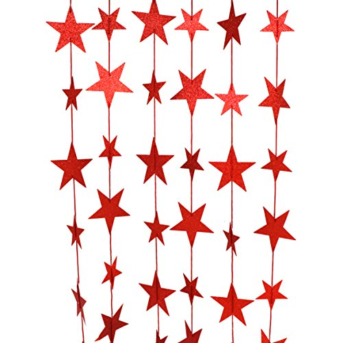 (CVHOMEDECO. Golden Twinkle Glittered Paper Star String Star Garland Unique Hanging Bunting Banner for Wedding Birthday Party Festival Home Background Decoration, 5.5 feet, Pack of 2 PCS (Red))