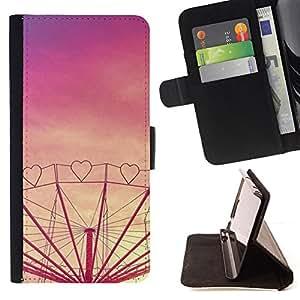 """Bright-Giant (Corazón púrpura del amor Sunset Feria de atracciones"""") Modelo Colorido Cuero Carpeta Tirón Caso Cubierta Piel Holster Funda Protección Para Apple iPhone 5C"""