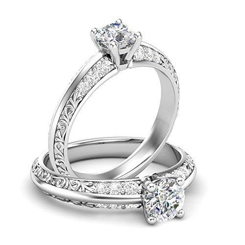 (14K White Gold Vintage Engagement Ring Filigree Ring Art Deco Ring Knife Edge Ring Forever One Colorless Moissanite Center)