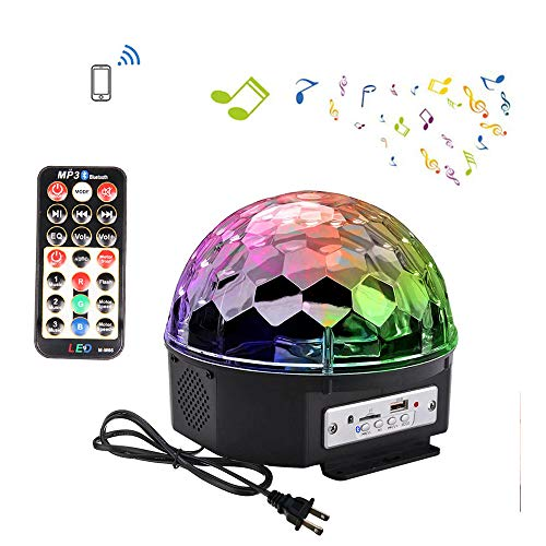 LOHOME Sound Activated Party Lights, Built-in Wireless BT Speaker 9 Color DJ Stage Lighting Crystal Magic Disco Ball with Remote Control MP3 Play and USB for All Kinds of Parties -