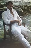 Chris Hemsworth Seated on Beach in White and Water 11 x 17 Inch Poster Litho