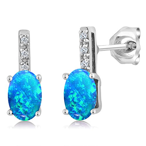 Gem Stone King 1.00 Ct Cabochon 6x4mm Blue Simulated Opal Diamond 14K White Gold Stud Earrings (Blue Earrings Simulated Diamond)