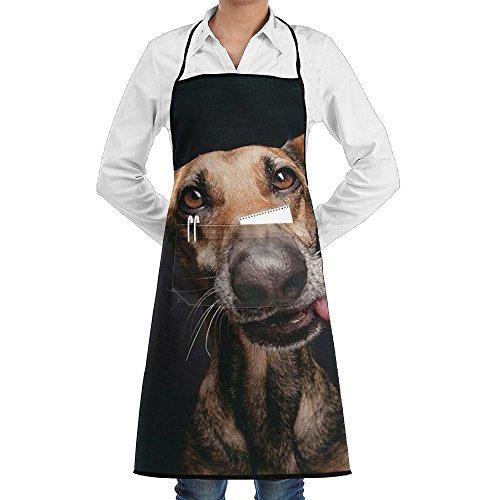 Pinscher Tie (Kitchen Bib Apron Adjustable Ties Center Pocket Funny Doberman Pinscher Dog See Food Waterproof)