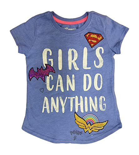 Superhero Girls Sequin Shirt - Supergirl, Batgirl, Wonder Woman (Blue, Large 10-12)