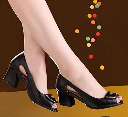 cabeza de pescado con los zapatos en bruto con la boca baja de las sandalias de las mujeres huecos zapatos salvajes Black