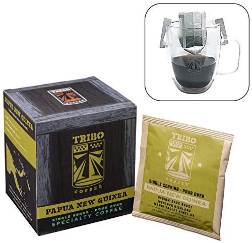 TRIBO COFFEE Single-Serve Portable Pour Over Drip Coffee | Specialty Grade - Papua New Guinea Wahgi Valley AA | 10 Servings Per Box (Medium-Dark Roast)
