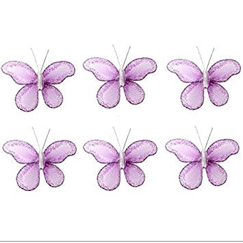 Butterfly Decor 2u0026quot; Purple Lavender Mini X Small Glitter Nylon Mesh  Butterflies 6 Piece
