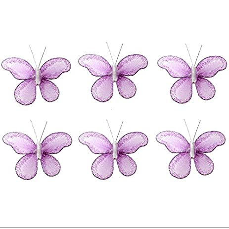 Butterfly Decor 2u0026quot; Purple Lavender Mini X Small Glitter Nylon Mesh  Butterflies 6 Piece