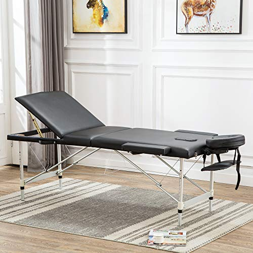 """84"""" L 3 section Portable Massage Table Bed Aluminum Spa Table Salon Therapy Bed with Carrying Bag Light Weight (Aluminum Spa Table)"""