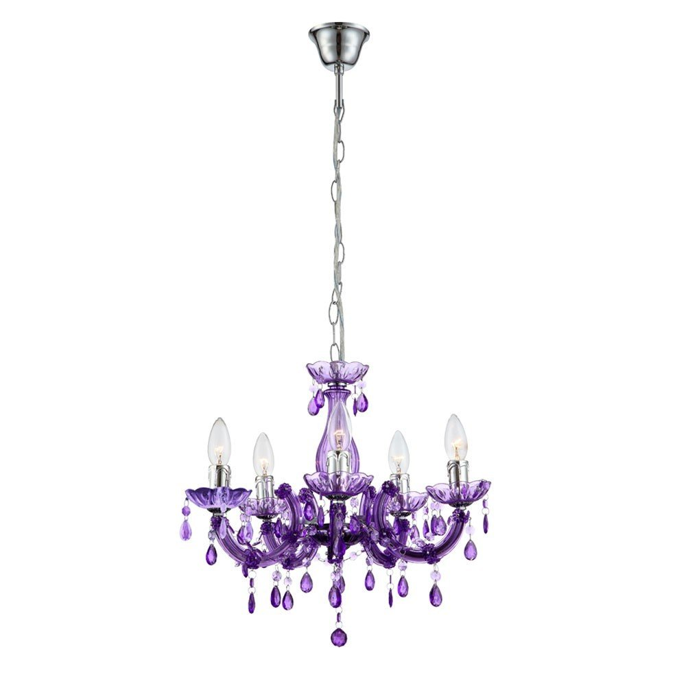 LED 15 Watt Hängeleuchte Hängelampe Kronleuchter Deckenbeleuchtung Innenbeleuchtung Lampe Luster chrom lila