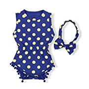 Yoveme Baby Girl Clothes Gold Dots Bodysuit Romper Sleeveless Tassel Outfits with Bowknot Headband(Navy Blue 0-3M)