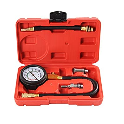 Shankly Compression Tester (Professional Grade), Compatible with Domestic and Imported Cars; Equipped with Useful 14mm/18mm Solid Short Adapter and Multiple Long Flexible Adapters: Automotive